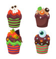 cupcake set happy halloween scary sweets vector image vector image