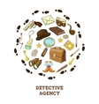 Detective Agency Round Composition vector image vector image