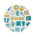 diving equipment and scuba gear thin line icon set vector image vector image