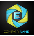 E Letter colorful logo in the hexagonal on black vector image vector image
