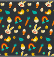 easter decorative elements pattern seamless use vector image
