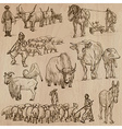 Farm animals Hand drawn pack vector image