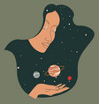 female character holding planets in outer space vector image vector image