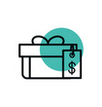 gift box tag price shopping line style dot color vector image