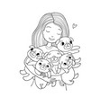 girl with funny cute pugs cartoon cheerful dogs vector image vector image
