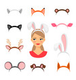 girls animals ears costume vector image vector image