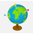 Globe with markers isometric 3d icon vector image
