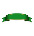 green ribbon banner satin glossy bow blank vector image