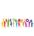Group of children silhouettes holding letters with vector image vector image