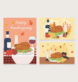 happy thanksgiving celebration cards dinner turkey vector image vector image