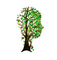 human head with green tree for think green concept vector image vector image
