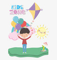 kids zone cute little boy with balloons kite vector image