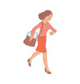 late business woman hurrying up vector image vector image