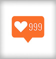 Like orange icon 999 likes vector image vector image