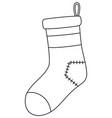 line art black and white old xmas sock vector image