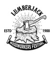 lumberjack woodworkers festival stump with ax vector image vector image