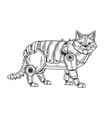 mechanical cat animal engraving vector image vector image