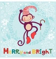 Merry and bright Cute card with cute funny monkey vector image vector image