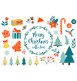 merry christmas winter objects set collection of vector image vector image