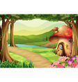 Mushroom house in the woods vector image vector image