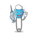 nurse safety pin character cartoon vector image