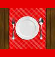 plate fork spoon on a red checkered tablecloth vector image