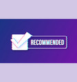 recommend glitch icon white label recommended vector image vector image