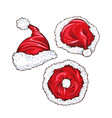 red santa claus hats set vector image vector image