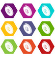 round clothes button icons set 9 vector image