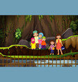 scene with family hiking mountain vector image vector image