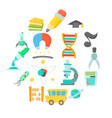 science education icons set cartoon style vector image vector image