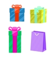 set gift boxes and paper bag vector image
