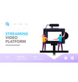tv show program or vlog broadcasting landing page vector image vector image