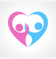 two human fgure forming heart symbol vector image vector image