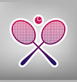 two tennis racket with ball sign purple vector image vector image