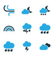 weather colored icons set collection of rainfall vector image vector image
