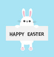 white bunny rabbit hanging on paper board vector image vector image