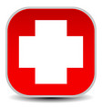 white cross over red - for first aid health vector image