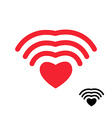 Wifi and heart Wireless transmission of love Wi fi vector image