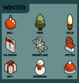 winter color outline isometric icons vector image vector image