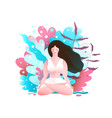 woman in nature sitting in lotus pose vector image