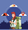 woman tourist with landscape and set icons vector image vector image