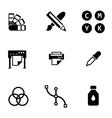 black polygraphy icon set vector image