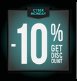 10 percent off holiday discount cyber monday vector image vector image