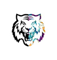 Abstract colorful triangle geometrical tiger logo vector image