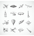 Aircraft icons sketch vector image vector image