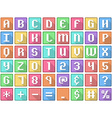Alphabet Numbers Symbols Flat Square Icons Arcade vector image