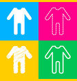 baby clothes sign four styles of icon on four vector image vector image