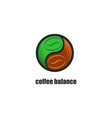 balance green and black coffee beans round vector image vector image