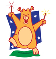 Bear Playing Firework vector image vector image